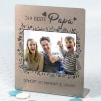 Edelstahl Foto-Aufsteller für den besten Papa 14x17cm