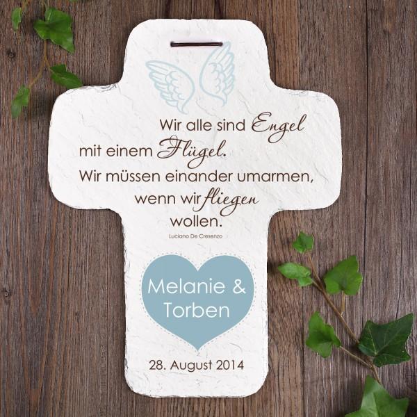 Hochzeitsgeschenk - XL Schieferkreuz mit Gedicht und Namen