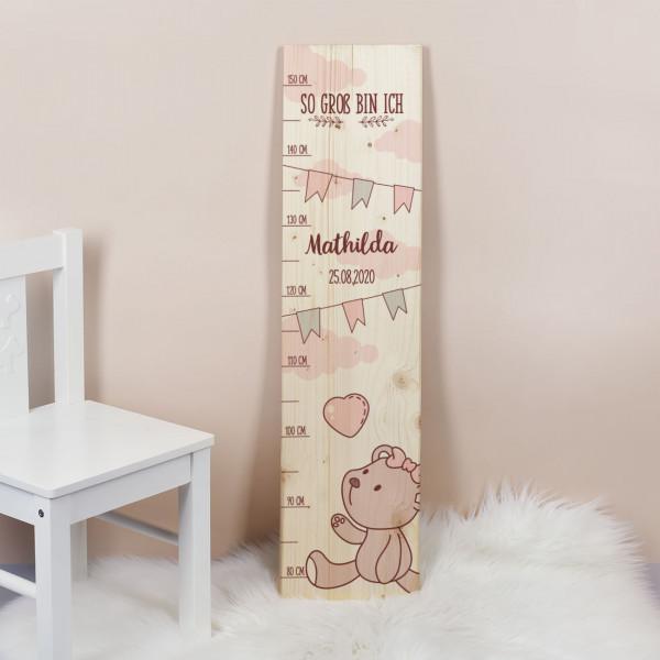 Messlatte für Mädchen mit rosa Bärchen Motiv