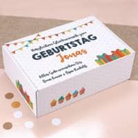 Bunte Geschenkverpackung zum Geburtstag