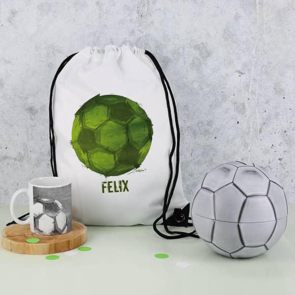 Fußball Set Spardose, Sportbeutel und Tasse