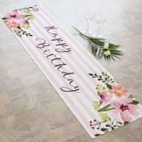 Tischläufer Happy Birthday mit Blumen