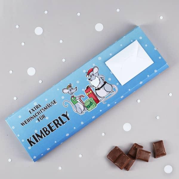 """Rießige Schokolade """"Extra Weihnachtsmäuse für"""" als süßes Geldgeschenk zu Weihnachten"""