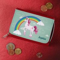 Mädchen - Geldbörse mit Einhorn, Regenbogen und Name