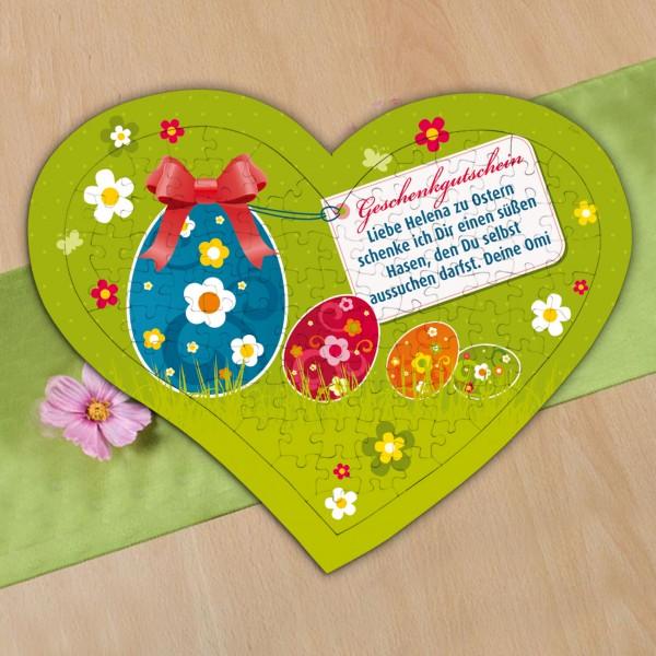 Großes Herz Puzzle als Geschenkgutschein zu Ostern