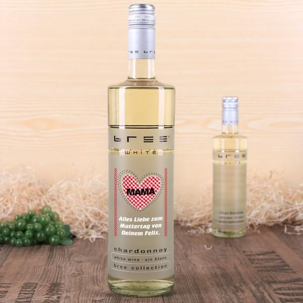 personalisierte Chardonnay Flasche mit Wunschtext und Herz