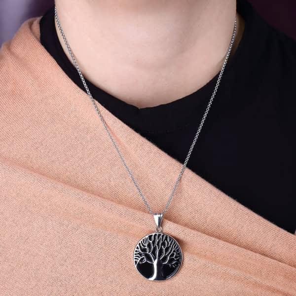 Edelstahl Halskette mit Lebensbaum Relief