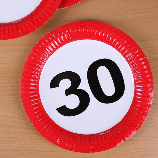 8 Pappteller Achtung 30