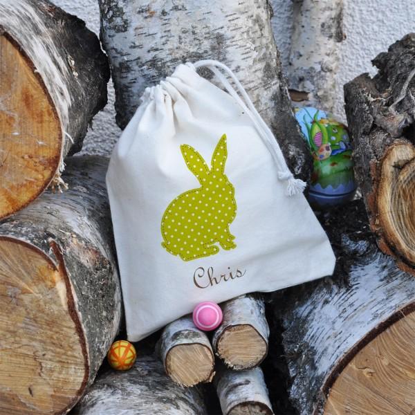 kleiner Häschen Geschenksack zu Ostern mit Ihrem Wunschnamen