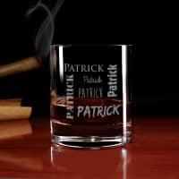 Whiskyglas mit Ihrem Namen in verschiedenen Schriftarten