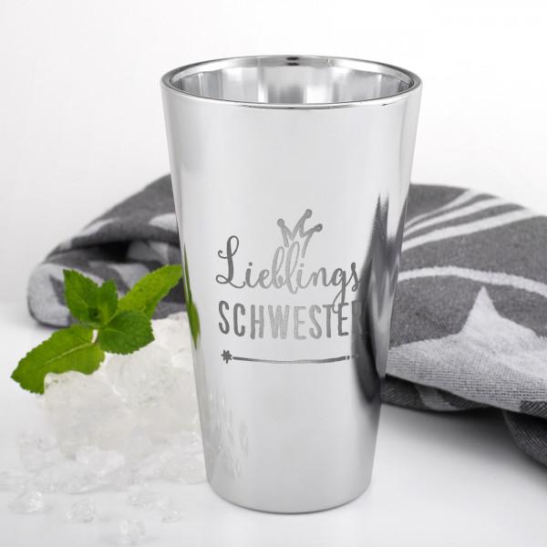 silberner Trinkbecher aus Glas mit Ihrem Wunschtext graviert