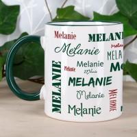 Tasse mit Ihrem Namen in verschiedenen Schriftarten - dunkelgrün