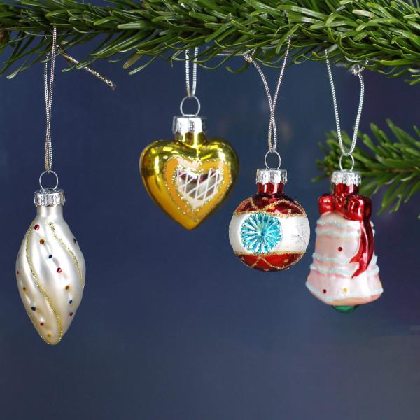Christbaumschmuck-Ornamente - Kugel, Glocke, Herz, Tropfen