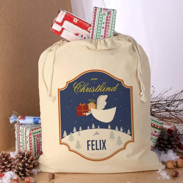 Geschenksack vom Christkind mit Ihrem Wunschnamen bedruckt