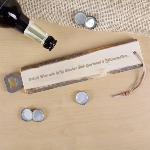 rustikaler Flaschenöffner kaltesBier/heiße Weiber mit Wunschname