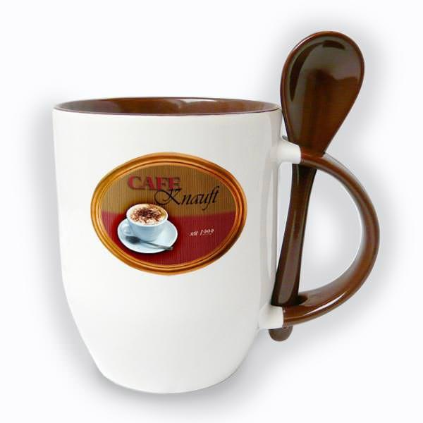 Personalisierte Kaffeetasse im Café-Design