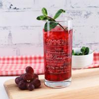 Sommerliches Trinkglas mit Name und Sommer To-do-Liste