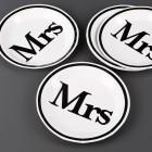 10 Pappteller Mrs zur Hochzeit