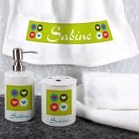 4-teiliges Geschenkset für's Bad mit Herzen