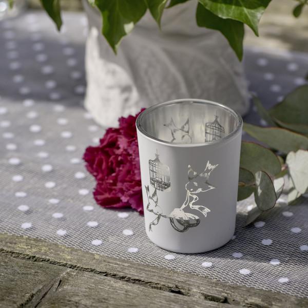 Weißer Teelichthalter mit Taubenmotiv zur Hochzeit
