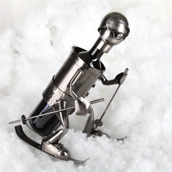 Flaschenhalter aus Metall als Skifahrer