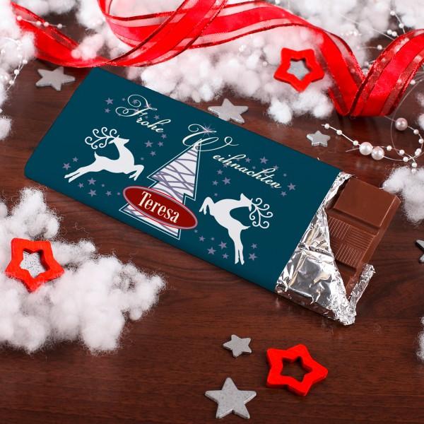 100g Schokolade mit Rentier, Weihnachtsbaum und Ihren Wunschnamen