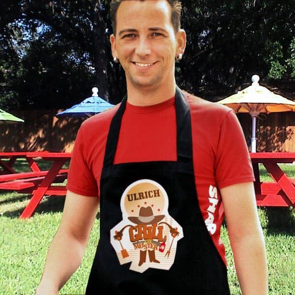 Personalisierte Grillschürze mit BBQ Aufdruck