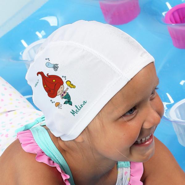 Badekappe für Kinder mit Meerjungfrau und Ihrem Wunschnamen bedruckt