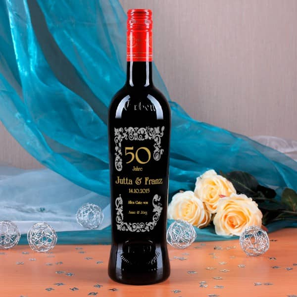 Weinflasche mit Gravur und Personalisierung in Gold/Silber