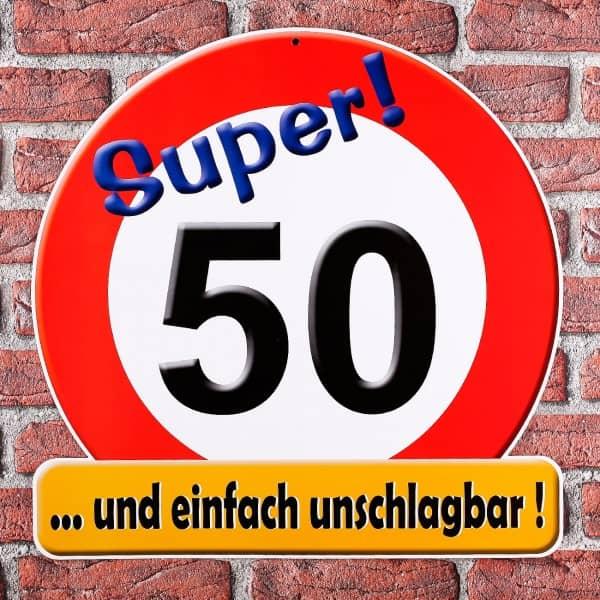 Schild Super! 50 ... und einfach unschlagbar!
