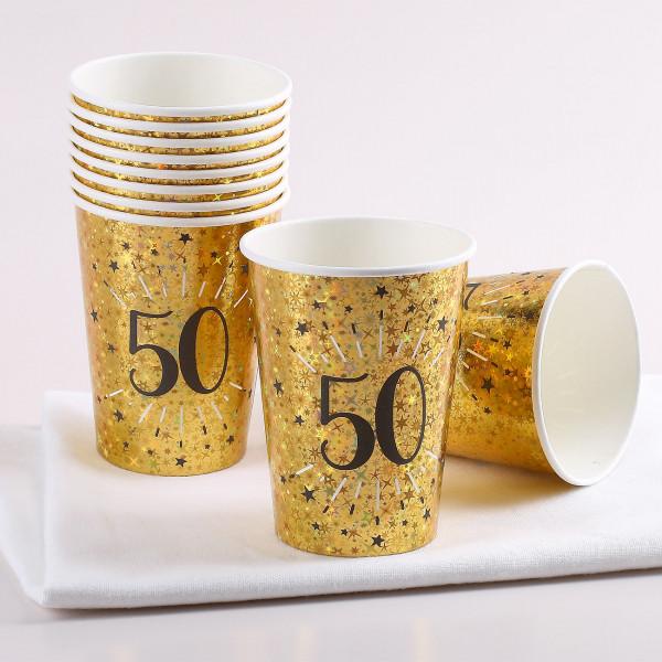 Goldene Pappbecher im Set zum 50. Geburtstag