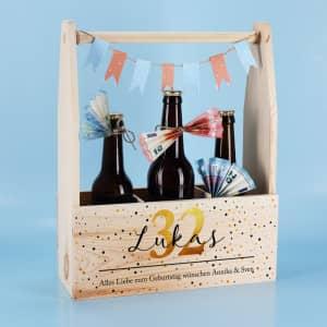 Flaschenträger zum Geburtstag mit Name