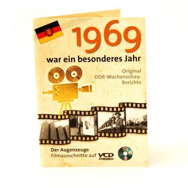 Geburtstagskarte mit historischen Ausschnitten 1969
