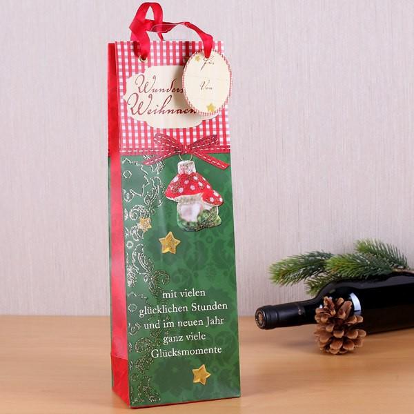 weihnachtliche Geschenktüte für Flaschen mit Aufschrift