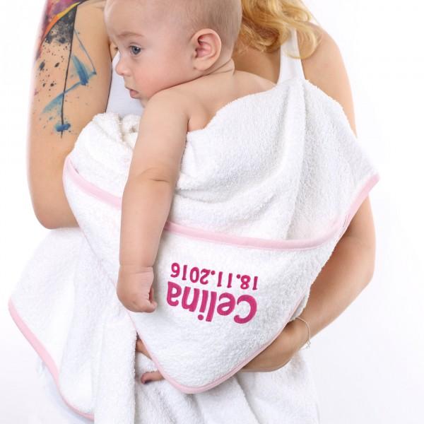 Kapuzenhandtuch für kleine Mädchen mit gestickten Namen