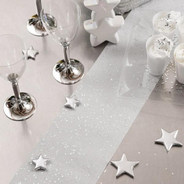 Tischläufer in silber mit Pailletten
