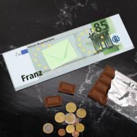 300g Euro-Schokolade mit Name, Alter und Geldumschlag