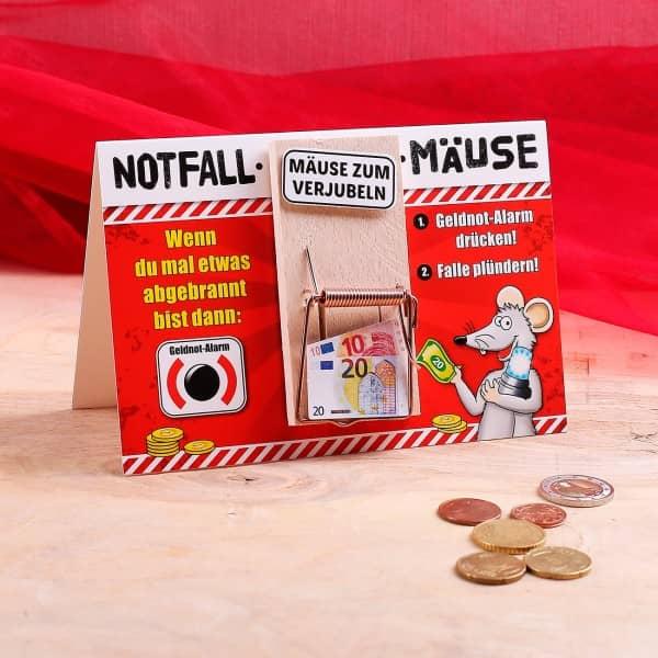 Karte mit Mausefalle - Notfall Mäuse