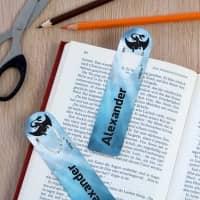 2 persönliche Lesezeichen für Kinder mit Drachen-Motiv