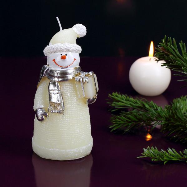Schneemann-Kerze in Creme mit silbernen Schal & Geschenk