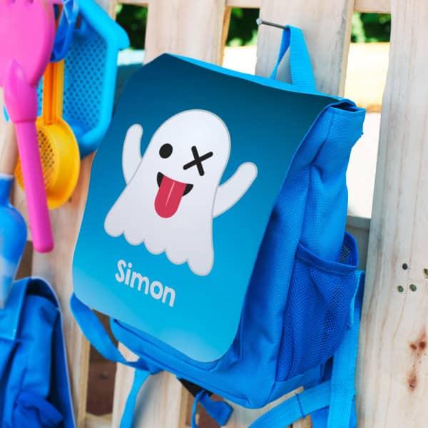blauer Kinderrucksack mit Emoticon Gespenst und Ihrem Namen