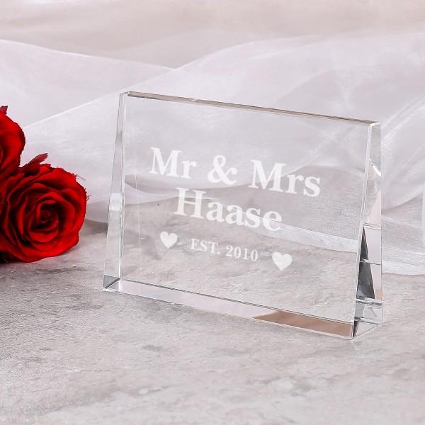 Mr & Mrs - Glasblock mit Name und Hochzeitsjahr