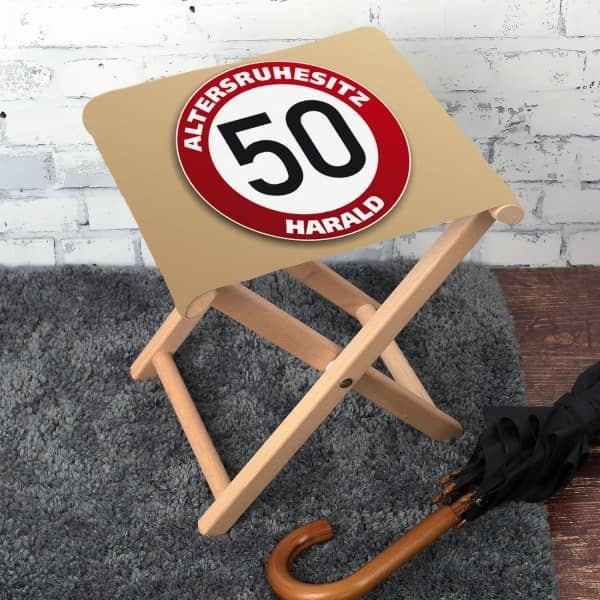 Klapphocker mit Namen zum 50. Geburtstag