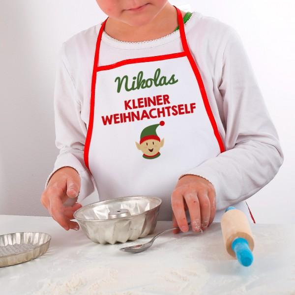 Kinderbackschürze bedruckt mit Name und kleinem Weihnachtself