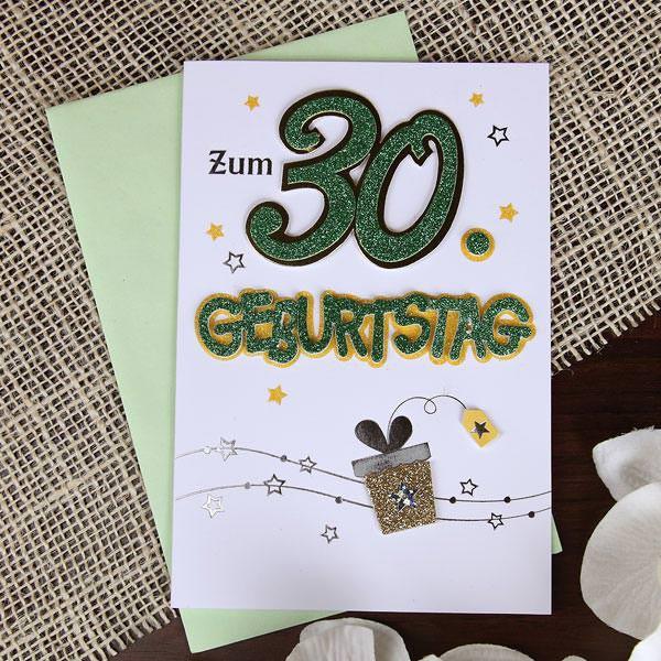 glitzernde Glückwunschkarte zum 30. Geburtstag