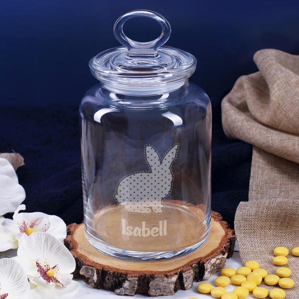 Gravierte Glasdose mit Osterhasen und Name