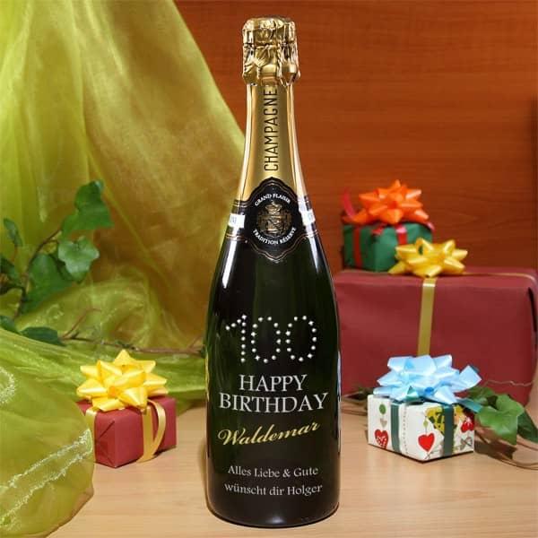 Champagner zum 100. Jubiläum und persönlicher Gravur