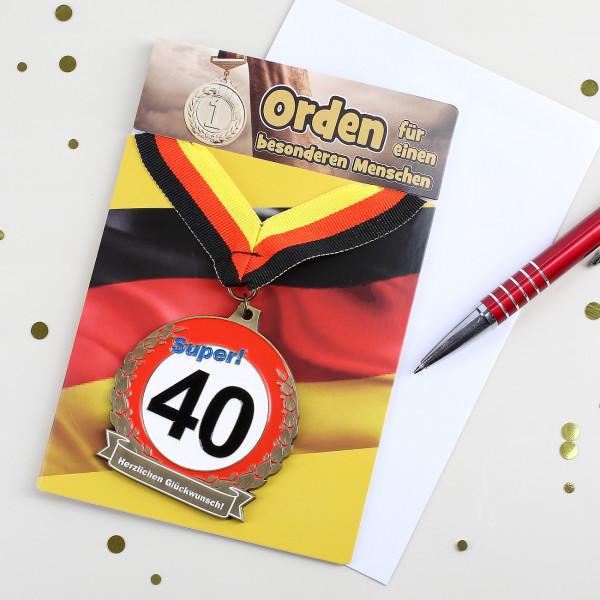 Glückwunschkarte mit Orden zum 40.