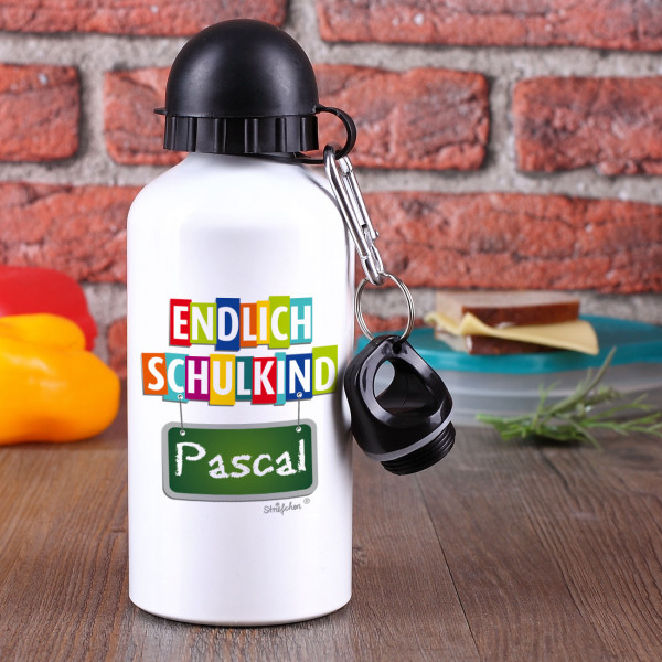 Endlich Schulkind Trinkflasche mit Name