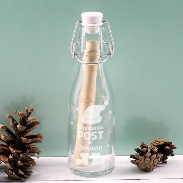 Ausgefallenkleineaufmerksamkeiten - Kleine Flaschenpost zu Weihnachten mit Wunschname - Onlineshop Geschenke online.de